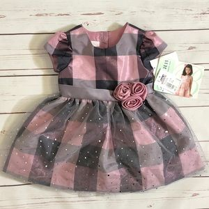 Bonnie Baby Pink & Grey Checkered Dress with Bow